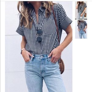 Tops - NWT Plaid gingham t shirt button down size small